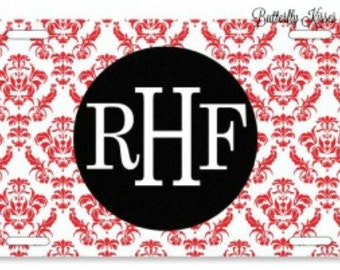 License Plate/Damask Pattern/Personalized/Monogram/Express yourself/Vibrant Colors/Great Gift Idea/Sweet 16/Stylish/Custom Car Accessories