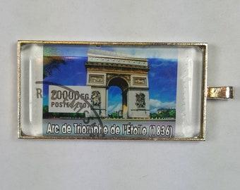 Arc de Triomphe de l'Étoile  Paris France Champs-Élysées Place Charles de Gaulle Postage Stamp Pendant or Key Ring