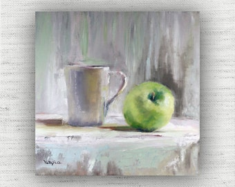 Apple Painting Print of Still Life Oil Painting Home Decor Wall Art - Green Kitchen Food Room Decor - Unique Dining Room Art Print