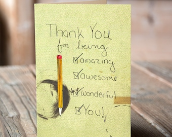 Awesome You Thank You Greeting Card, Teacher, Pencil