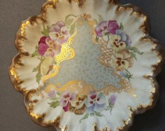 PH Leonard Vienna Austria Pansies Gilt Cabinet Plate Antique