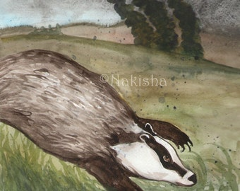 Original Art - The Three of Badgers- Watercolor Badger Painting -The Badgers Forest Tarot
