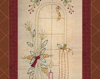 Window-Autumn Harvest-Primitive Stitchery  E-PATTERN by Primitive Stitches-Instant Download
