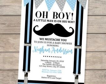 Mustache Baby Shower Invitation, Oh Boy! Little Man Baby Shower Invitation For Baby Boy, Mustache Bash Baby Shower Invite, Mustache Party