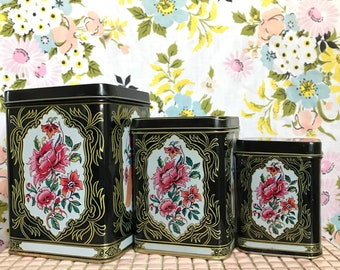 Vintage set of 3 matching nesting floral and bird tin storage canisters
