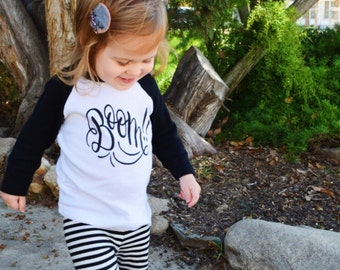 Boom! - Child's Graphic American Apparel Tee Shirt - Size 4 4t Cotton Tshirt - Black & White - Made in USA - Hand lettered drawn at DearSeed
