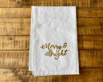 Merry and Bright Flour Sack Tea Towel