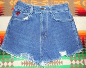 70s Devils Denim Cut Off Frayed Shorts Size 25 rocker grunge rocker