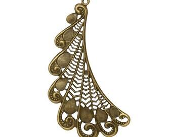 4pcs antique bronze feather shape 10.7cmx 6.3cm filigree wraps-B55