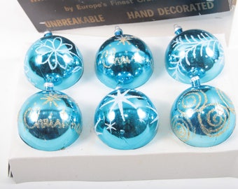 1960's Blue, Vintage, Christmas Ornaments, Round, Shiny, Sparkly, Snowflakes, In a box, Imported Ornaments, Hand Decorated ~ T170403