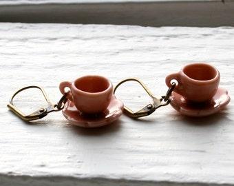 Peach Tea Cup Earrings, Tea Cup Earrings, Tea Cup Jewelry, Tea Jewelry, Tea Cup Jewellery, Miniature Teacup Jewelry