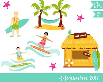 Digital Clipart - Hawaii Tropical Surf Shack Theme - 300 dpi JPEG and PNG - Instant Download