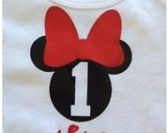 Personalized Minnie Mouse Baby Boy Birthday Onesie Bodysuit Short sleeve
