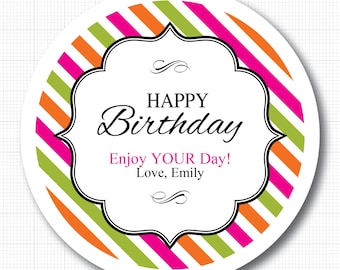 Happy Birthday Stripes . Personalized Stickers, Labels or Envelope Seals