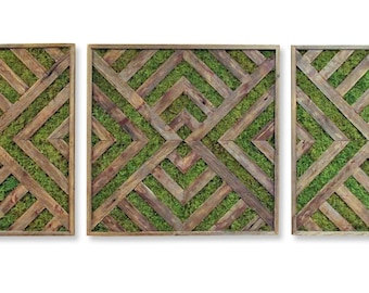 6ft Reclaimed Wood & Preserved Moss Triptych Art - Large Wall Decor - Green Wall - Living Wall Art