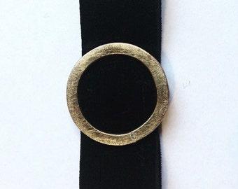 Velvet and brass bracelet