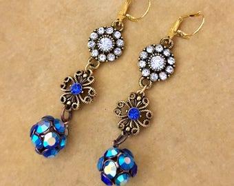 Carianna, vintage assemblage earrings, blue, rhinestones, floral, glitter balls