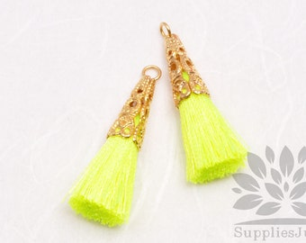 T003-01-G-NY// Gold Plated Cone Neon Yellow 34mm Tassel Pendant, 4pcs