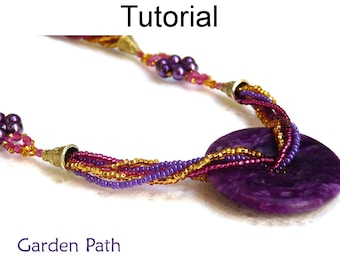 Jewelry Making Pattern - Beading Tutorial - Gemstone Necklace - Donut Stone - Multi-Strand - Simple Bead Patterns - Garden Path #1877
