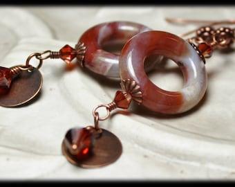 Cinnamon Spice... Handmade Jewelry Earrings Beaded Brown Burnt Umber Red Cream Ocean Jasper Gemstone Antique Copper Crystal Dangles