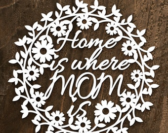 """Papercut Template -""""Home is where MOM is"""""""