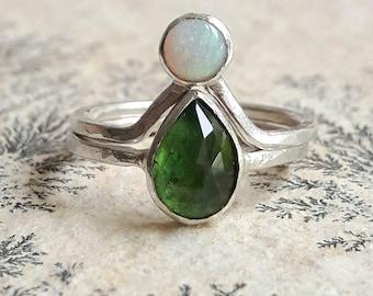 Pear Shaped Tourmaline and Opal Engagement Ring Set - Alternative Engagement Rings - Boho Wedding Rings - Boho Bridal Set - Hammered Rings