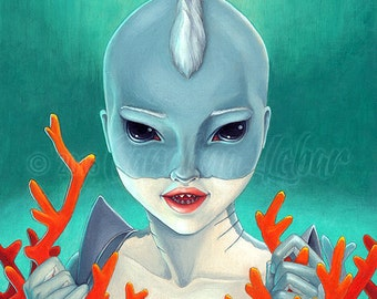"Art print drawing Shark girl, Great White Shark painting, shark decor, Big Eyes, Fine Art Print - 5"" x 7"""