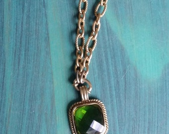 Vintage Chain Necklace with Beveled Green Pendant