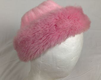 warm pink fuzzy furry beanie