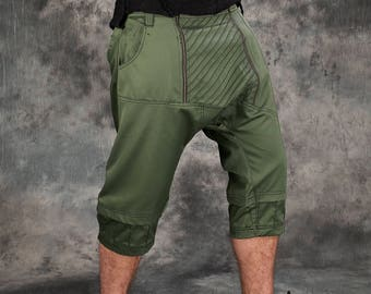 Baggy Cargo Shorts~Men Goa Pants~Tribal Clothing~Steampunk Clothing~Gothic~Festival Clothing~Psy Wear~Psychedelic Clothing~Psy Trance Goa DeM0jAqK