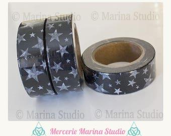 Genuine masking tape black and white with stars 10 M rice paper
