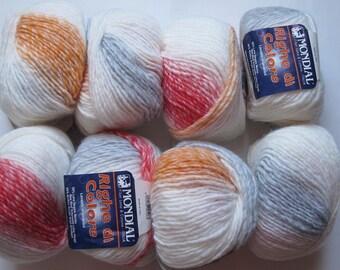set of 10 balls of Merino di lines color 661 world
