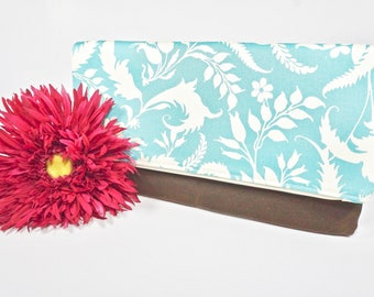 Sale Fold Over Clutch | Aqua Floral Everyday Clutch | Wedding Clutch | Evening Clutch Purse | Waxed Canvas Zipper Clutch | Bridesmaid Clutch