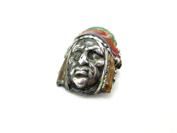 Native American Indian Head Brooch Sterling Silver Multicolor Enamel Headdress 3D Man's Face Small Pin Vintage 1960s Unisex Figural Jewelry