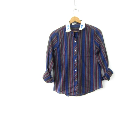 80s Striped Blouse Vintage Blue Purple Poet Blouse Peasant Collar Shirt Hipster Prairie Top Womens Large