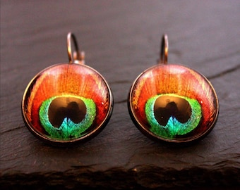glass cabochon Stud Earrings Peacock feather