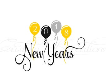Happy New Year Ballons  SVG File