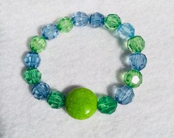 Calming Green, and Blue Beaded Bracelet