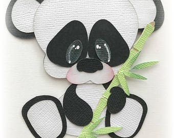 Baby panda bear animal premade paper piecing 3d die cut  by my tear bears kira