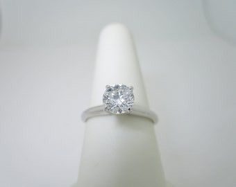 14K Solid White Gold NATURAL .81 ct DIAMOND (MARKED) Engagement Ring Size 6 1/2 R1328