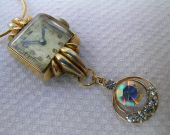 """Gorgeous unique OOAK upcycled vintage 1/20 12k gold filled watch pendant with vintage diamante earring dangle + gold plated 18"""" snake chain"""