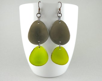 Gray and Lime Green Tagua Nut Eco Friendly Earrings with Free USA Shipping #taguanut #ecofriendlyjewelry