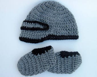Hand-Crocheted Infant Newsboy Cap and Booties