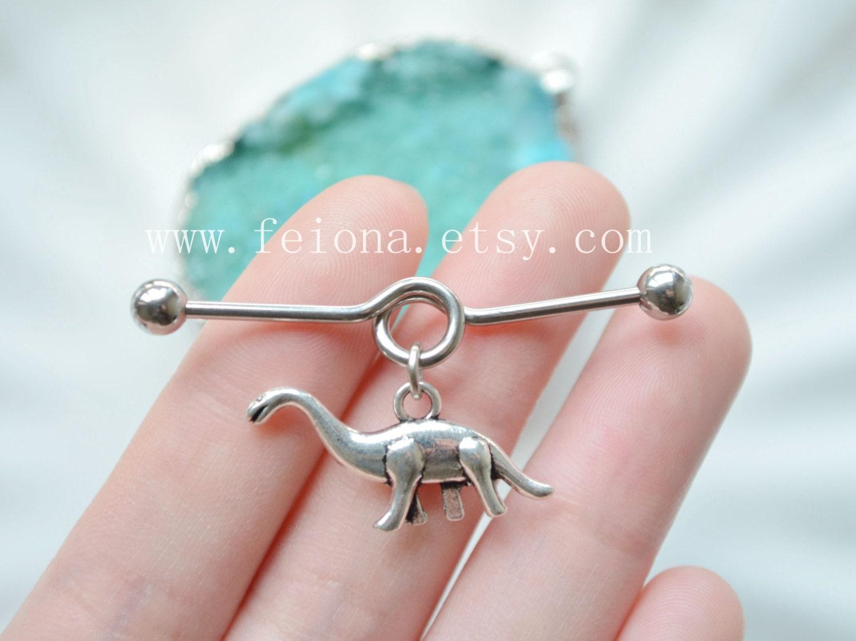 Silvery dinosaur Industrial Barbell piercing Ear Jewelry