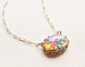 Vintage Glass Opal Necklace,Gold Filled OR Sterling Silver,Elegant,Vintage Fire Opal,Harlequin Pink Opal,Birthstone Necklace,Opal Jewelry