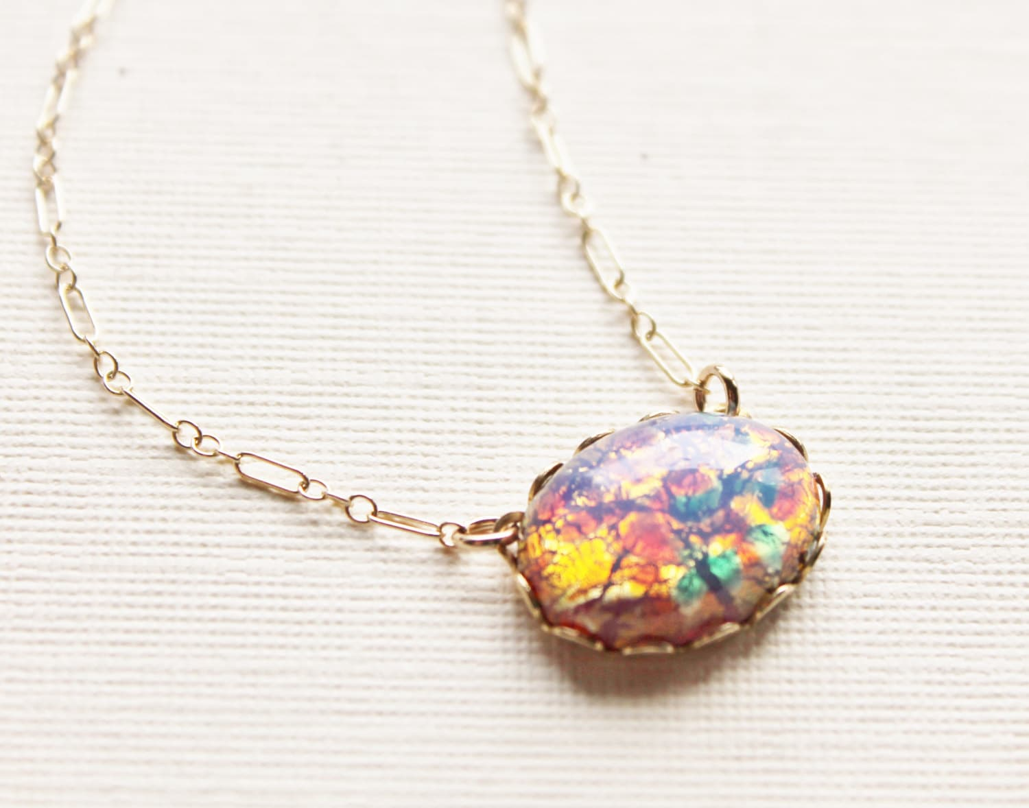 honey listing il cabochon genuine necklace fullxfull cheerful opal fire pendant silver jewelry