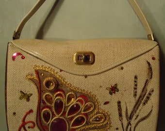 Vintage 1960s Bucket Style Cream Colored Butterfly Embellished Gems Handbag