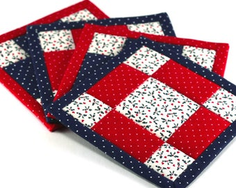 Patriotic Fabric Coasters, 4th of July Coasters, Red White and Blue Coasters, 4 Reversible Mini Quilts Candle Mat Set, Quiltsy Handmade