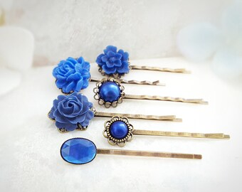 Blue Bobby Pin Set - Crystal Hairpins - Decorative Hair Pins - Blue Floral Hair Pieces - Hair Accessories Pearl - Vintage Bobby Pins H4018