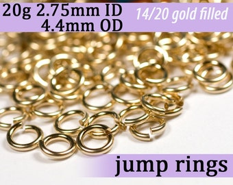 20g 2.75mm ID 4.4mm OD gold filled jump rings -- 20g2.75 goldfill jumprings 14k goldfilled